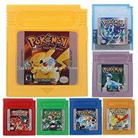 Poke series vermelho/azul/amarelo/verde/ouro/prata/cristal jogo de vídeo cartucho console cartão inglês/spanis língua para nintendo gbc