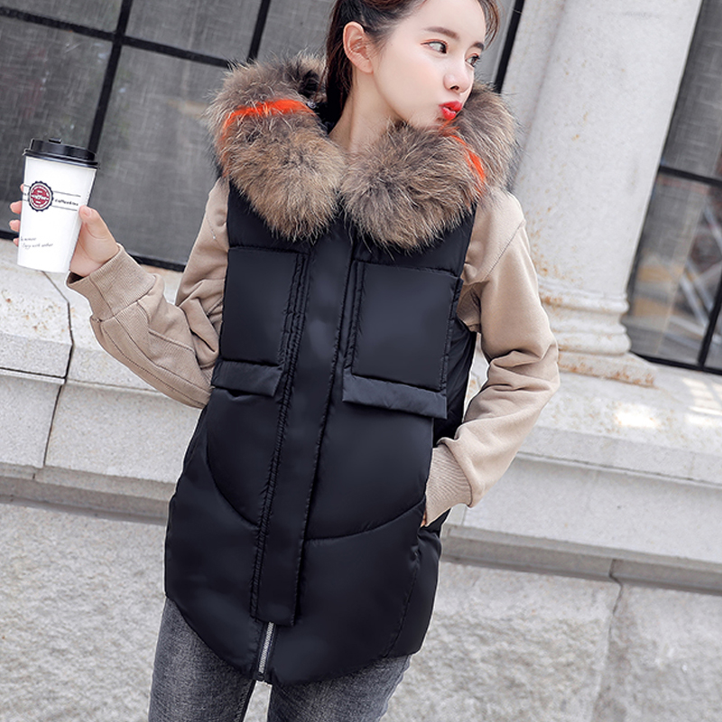 2019 Autumn Winter mid-long vest women Casual Solid big fur collar thick warm hooded waistcoat pocket zipper female