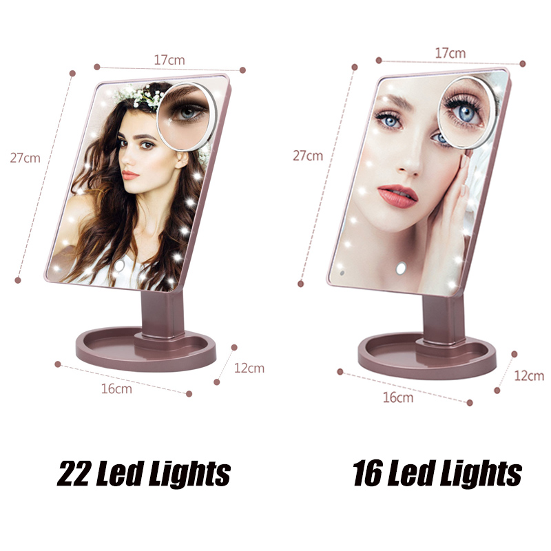 LED Lights Touch Screen Makeup Mirror Table Tri-fold Mirror Desktop Countertop Bright Adjustable USB Cable Or Batteries Use
