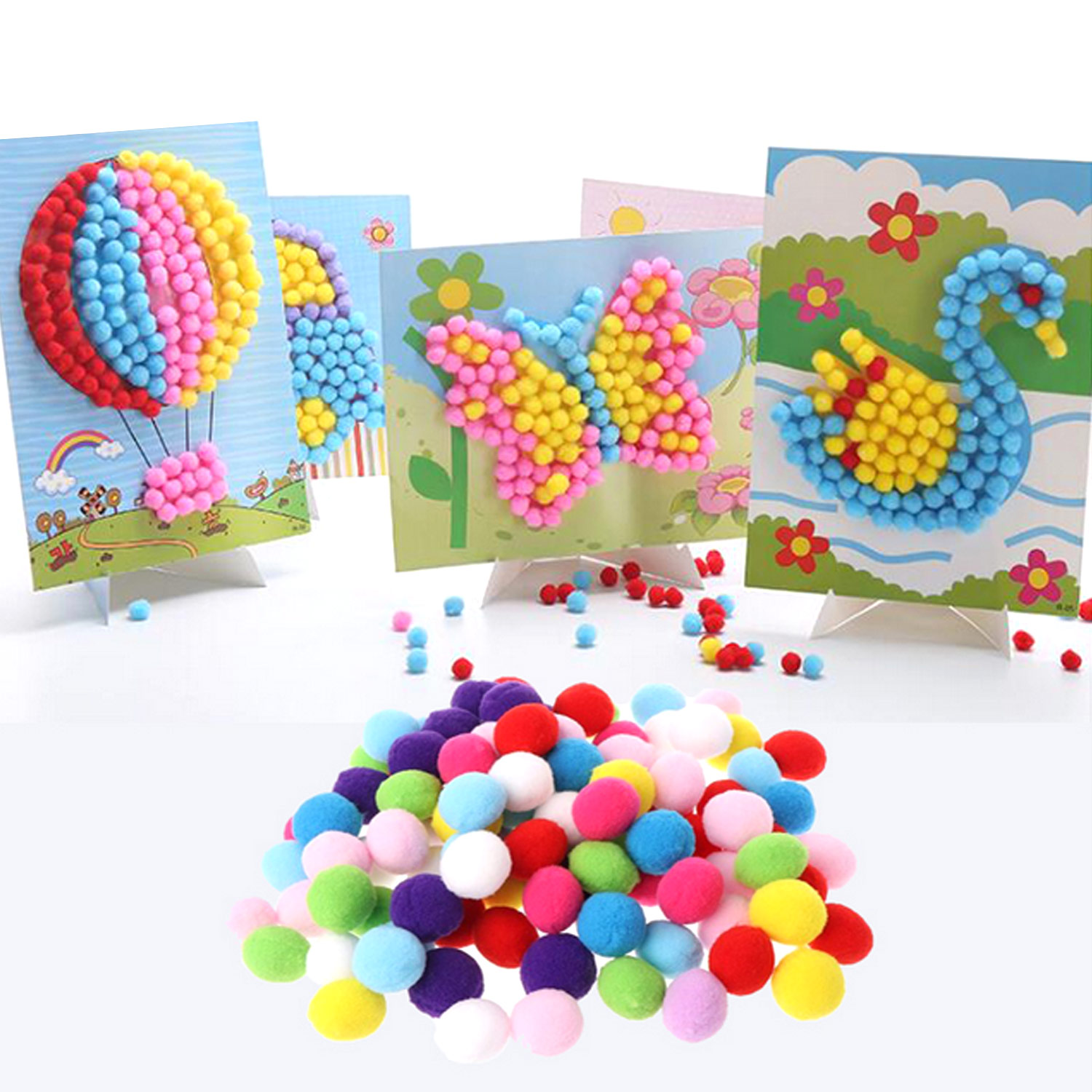 2 Sets Kids DIY Plush Ball Painting Stickers Cute Puzzles Crafts Toys For Birthday Christmas Childrens Day Gift Random Styles