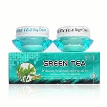 الجملة تبييض مغذية مكافحة النمش مجموعة النشاط الطبيعي شاي أخضر كريم وجه مرطب + ليلة كريم شاي أخضر