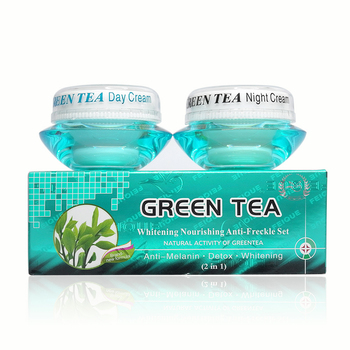 Wholesale whitening Nourishing anti-freckle set natural activity green tea day cream+night cream green tea 1kg 100% natural green tea extract 60%