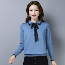цены на Woman Soft Shirt Black Lace Hem Bow Knot Design Peter Pan Collar Plain Knitted Tops Women Blue Yellow Pink Khaki Blouses Autumn Spring  в интернет-магазинах