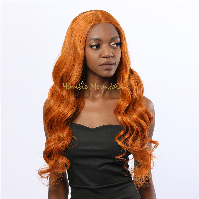 13*6 Lace Front Human Hair Wigs Orange Body Wave Medium Length Brazilian Remy Hair 13x6 Lace Front Wigs With Baby Hair Orange