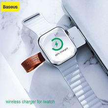 Baseus taşınabilir kablosuz şarj cihazı Apple Watch için 4 3 2 1 QI kablosuz şarj Iphone için izle kablosuz şarj Usb yuvası ile