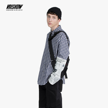 VIISHOW brand Mens Plaid Shirt Sleeve stitching Chemise streetwear Men shirt Long-Sleeve Autumn Casual Fashion Cotton CC2003193