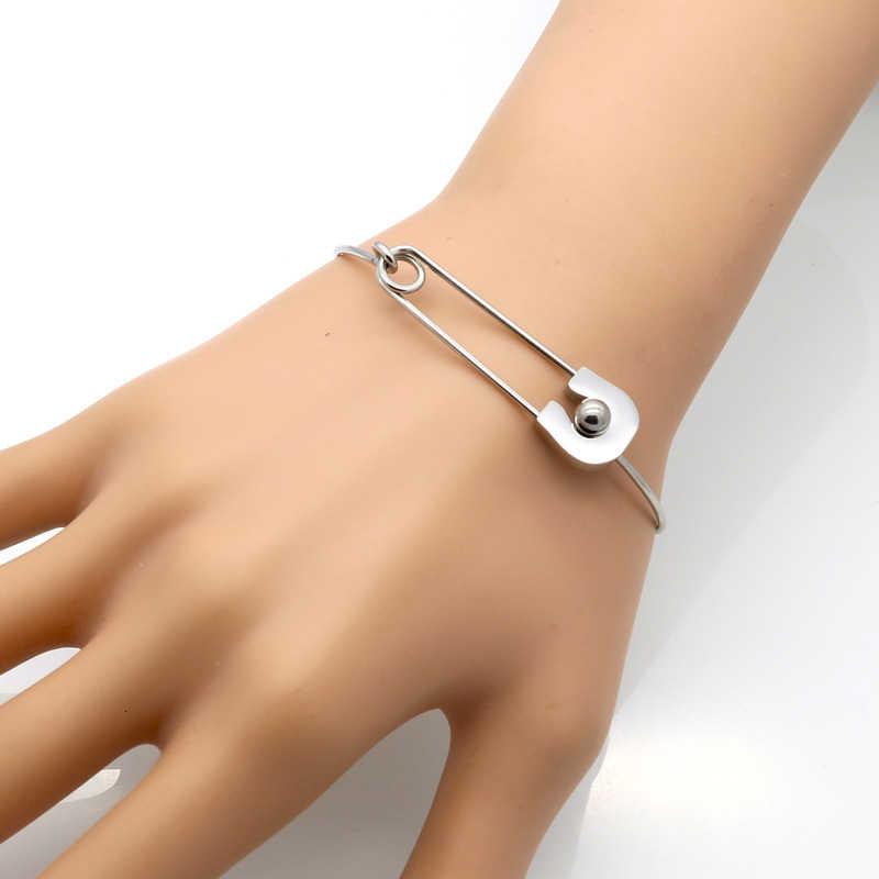 Vnox Bracelets de manchette en forme de broche à la mode Bracelets pour femmes or et ton acier inoxydable cadeaux de fête d'anniversaire