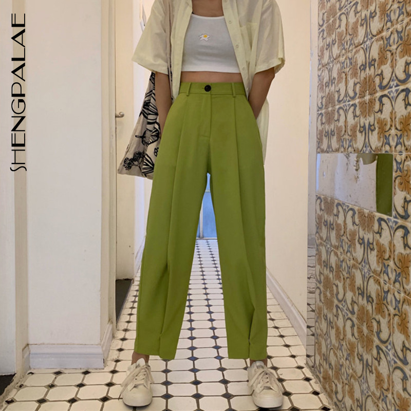 SHENGPALAE 2020 Brief Slender Hot Casual High Waist Summer Women Loose Simple Solid Ankle Length Wide Leg Pants 3 Colors ZA3946