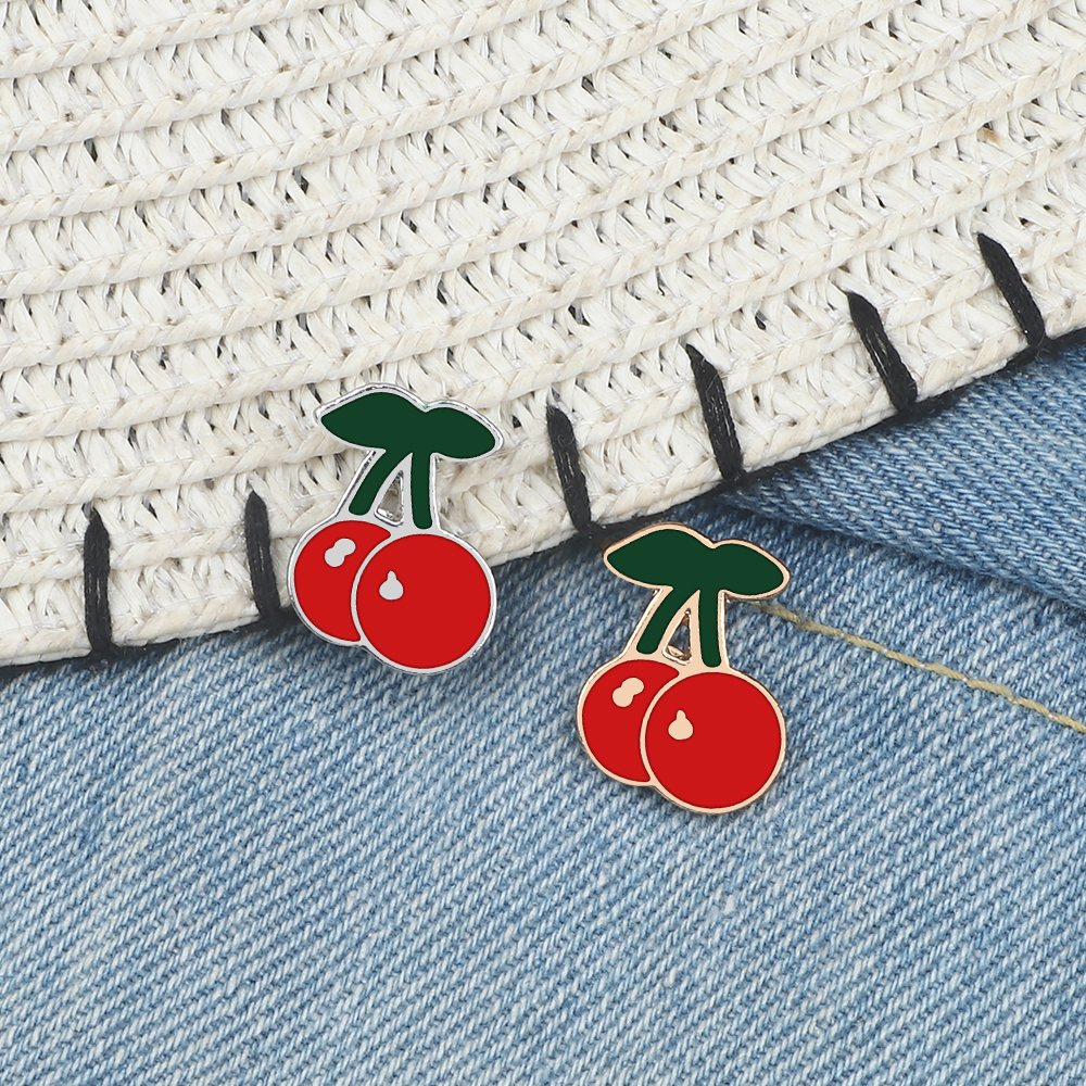 Cherry Enamel Pin Cute Red Cherry Fruits Lapel Jackets Pins Cartoon Brooches Buckle Badge Fashion Jewelry Gift For Women Girls