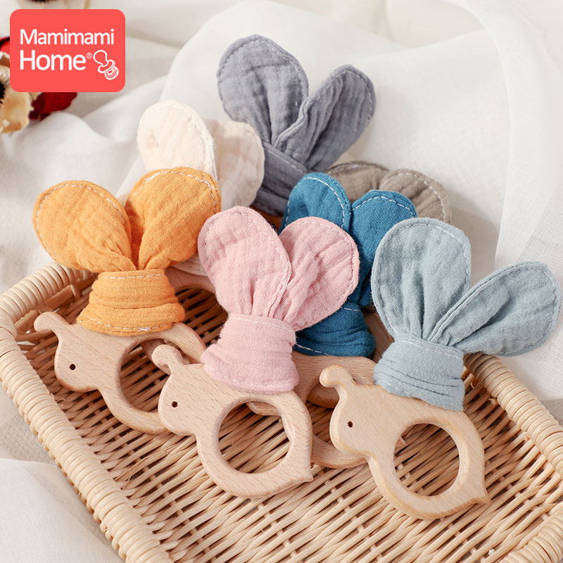 Baby Wooden Toys 1pc Beech Wood Rodent Bee Pendant With Cotton Cloth Bunny Ear Newborn Teething Absorbent Cloth Children'S Goods