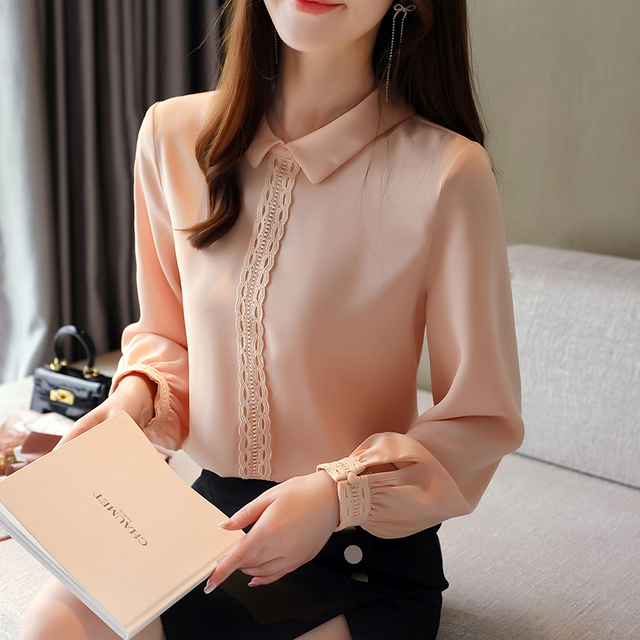 Korean Chiffon Shirts Women Long Sleeve Shirts Woman Solid Blouses Tops Office Lady White Shirt Tops Plus Size Woman Blouse Top 4