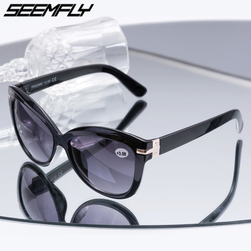 Seemfly Bifocal Reading Sun Glasses Women Men Presbyopia Eyeglasses Cat Eye Sunglasses Diopter +1.0 To +3.0 Oculos De Grau 2019