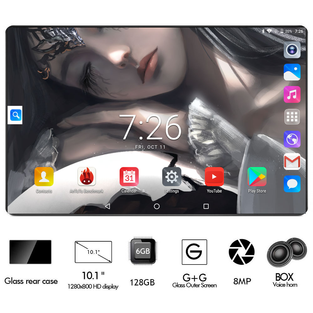 10 Inch Android 9.0 Tablet , 6000mAh Battery, Octa-Core CPU, 1280x800 Full HD Display, 2.5D Glass, 6GB+128GB, WIFI, 8MP Cameras