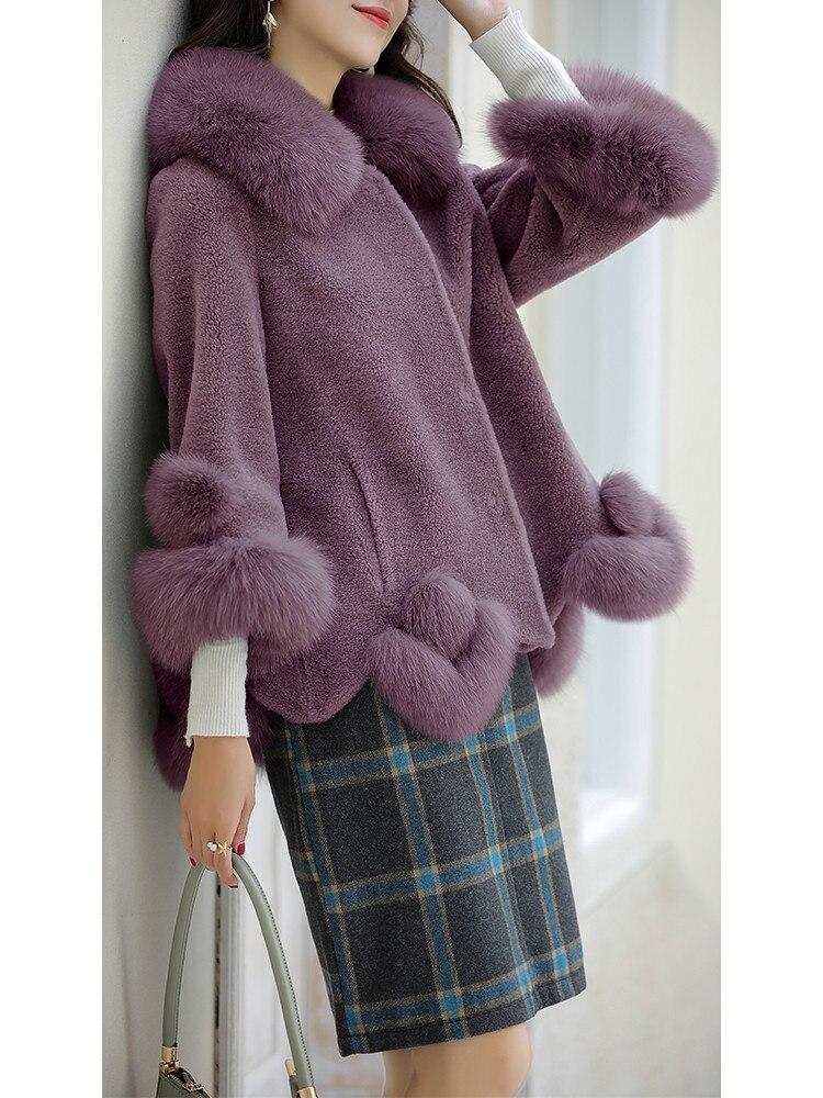 Coat Fur Real Female Sheep Shearling Winter Jacket Women Fox Fur Collar 100% Wool Coat Women Clothes 2020 Veste Femme MY
