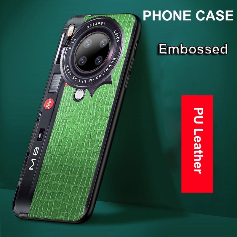 for Huawei P40 Lite Mate 30 Pro 20 Pro 5G P30 P20 Honor 20 V30 Nova 7i 5T Case PU Leather Embossed Camera Soft Back Cover Funda(China)