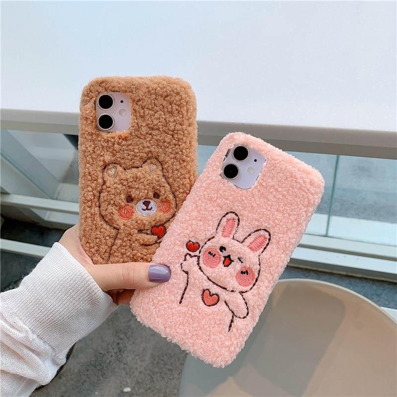 Cute Hairy Rabbit Bear Animal Phone Case For iPhone 12 Mini Pro Max 11 Pro XS X XR 6 7 8 Plus SE 2020 5S 5C Plush Fur Back Cover