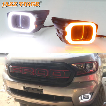 JAZZ TIGER Yellow Turn Signal Function Waterproof ABS 12V Car DRL Lamp LED Daytime Running Light For Ford Ranger T8 2019 2020