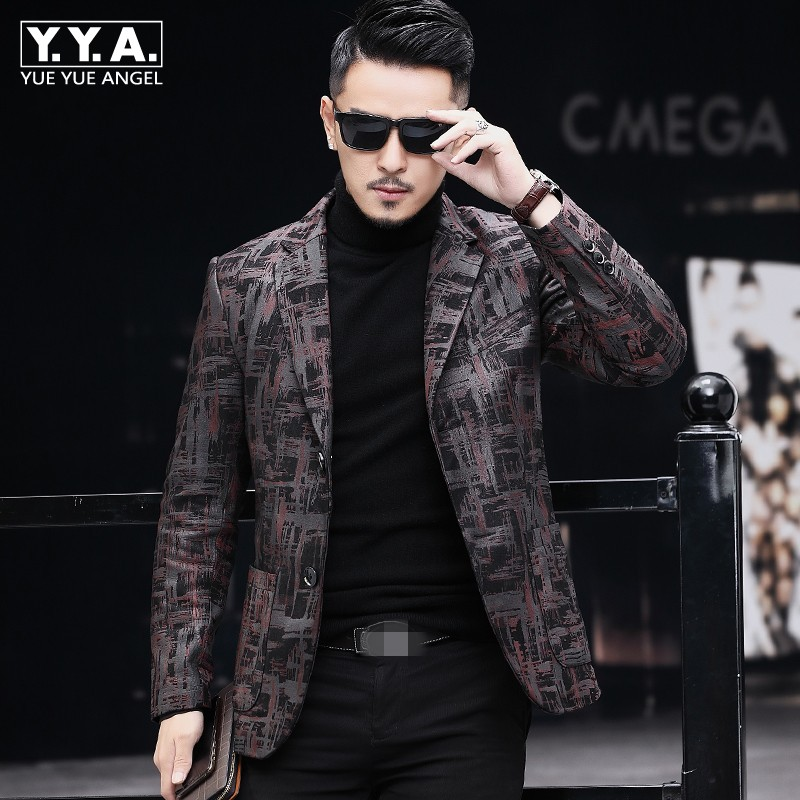 Brand Real Leather Jacket Men Fashion Office Single Breasted Sheepskin Blazer Casual Printed Suit Jacket Plus Size 4XL