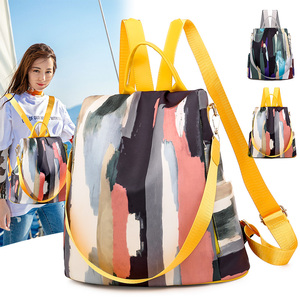 Image 2 - Simple style ladies backpack anti theft Oxford cloth tarpaulin stitching sequins juvenile college bag purse Bagpack Mochila