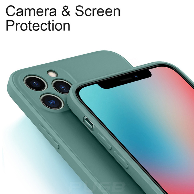 Luxury Orignal Square Edge Soft Liquid Silicone Case For iPhone 12 11 Pro XS Max Mini X XR 6S 7 8 Plus SE 2020 Shockproof Cover 6