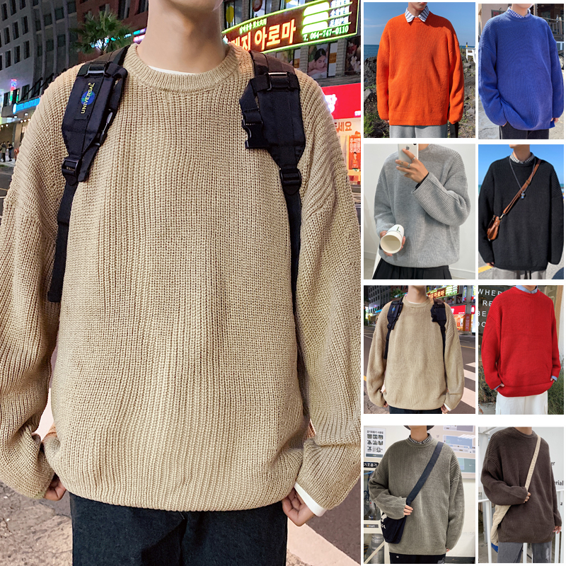 Winter New Sweater Men Warm Fashion Solid Color Casual O-neck Knitted Pullover Man Wild Loose Long Sleeve Sweater Male Clothes