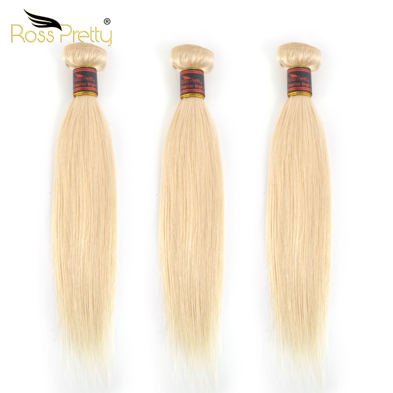 Ross Pretty Remy Hair Blonde Color Brazilian Straight Weave Bundles 100% human hair extension