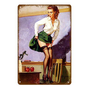 Винтажная привлекательная леди заколка девушка картина жестяные знаки металлическая пластина художественный плакат Наклейка на стену бар кафе домашний декор YJ114|Таблички и знаки|   | АлиЭкспресс