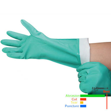 Long-Gloves Nitrile Chemical-Resistant Latex SAFETY Waterproof Green 2-Pairs