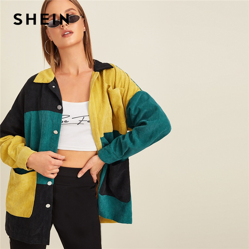 SHEIN Multicolor Pocket Front Colorblock Cord Jacket Coat Women Autumn Winter Single Breasted Long Sleeve Casual Outwear Coats