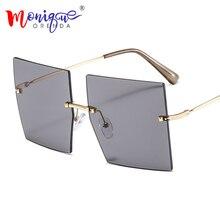 Oversized Rimless Square Sunglasses Women Unisex Fashion Lux