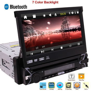 цена на Single Din Stereo Car Radio 7 inch Capacitive Touchscreen DVD Player GPS Navigation Bluetooth USB/SD/FM/AM + Free 8GB GPS Card