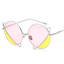 PAWXFB 2020 New Double color Round Sunglasses Women Men High