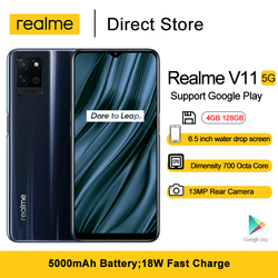 Realme V11 5G Android Cell Phone 128GB 4GB RAM 6.5 inch Dimensity 700 Octa-core Mobile Phones 18W Fast Charge 13MP Rear Camera