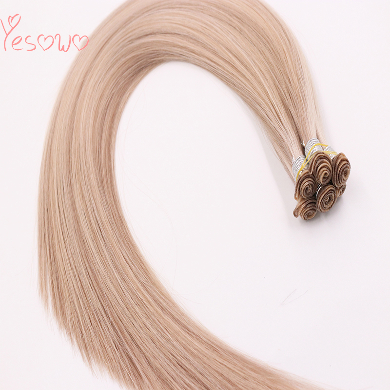 Yesowo 100g 6PCS Russian Remy Human Hair Bundles Straight Double Drawn Human Hair Weft Silky Straight Hand Tied Hair Extensions