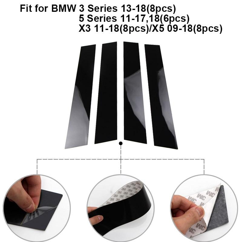פלאזמה 6 / 8pcs Pillar חלון דלת המכונית הודעות פסנתר Trim כיסוי קיט Fit עבור BMW 3 Series 13-18 / 5 סדרה 11-17,18 / X3 11-18 / X5 09-18 (2)