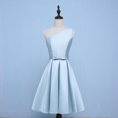 One Shoulder Wedding Party Elegant Blue Bridesmaid Dresses Sister A-Line Satin Prom Dress Sexy Short Frocks Vestido Azul Marino