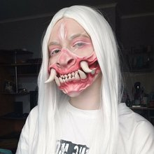 2021 New Latex Half Face Horror Tooth Mask Head Set Evil Sentimental Outdoor Toy Monster Half Face Coverd Bone Mask Cosplay Mask