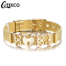 Cuteeco 2019 New Design Mesh Keeper Pan Bracelet 10mm Stainless Steel Charm Bracelets for Women Men Party Bar Gifts new design 2019 hot silver mesh keeper bracelet with heart anchor slide charms stainless steel brand bracelets for women