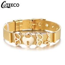 Cuteeco 2019 New Design Mesh Keeper Pan Bracelet 10mm Stainless Steel Charm Bracelets for Women Men Party Bar Gifts