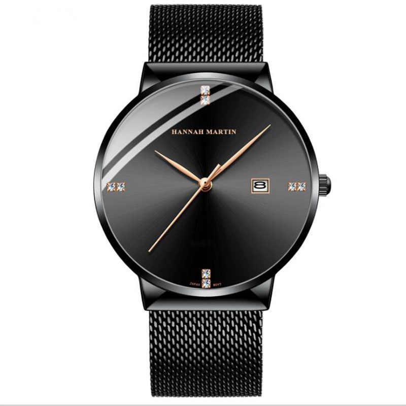 Reloj de cuarzo a prueba de agua para hombre, calendario de movimiento japonés, correa de malla de acero inoxidable, con reloj de diamantes