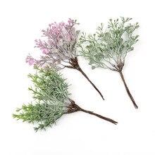 6 sztuk/pakiet sztuczny kwiat żołądź roślina liściasta bukiet diy ślub boże narodzenie w domu dekoracja wieniec rękodzieło scrapbook sztuczny kwiat