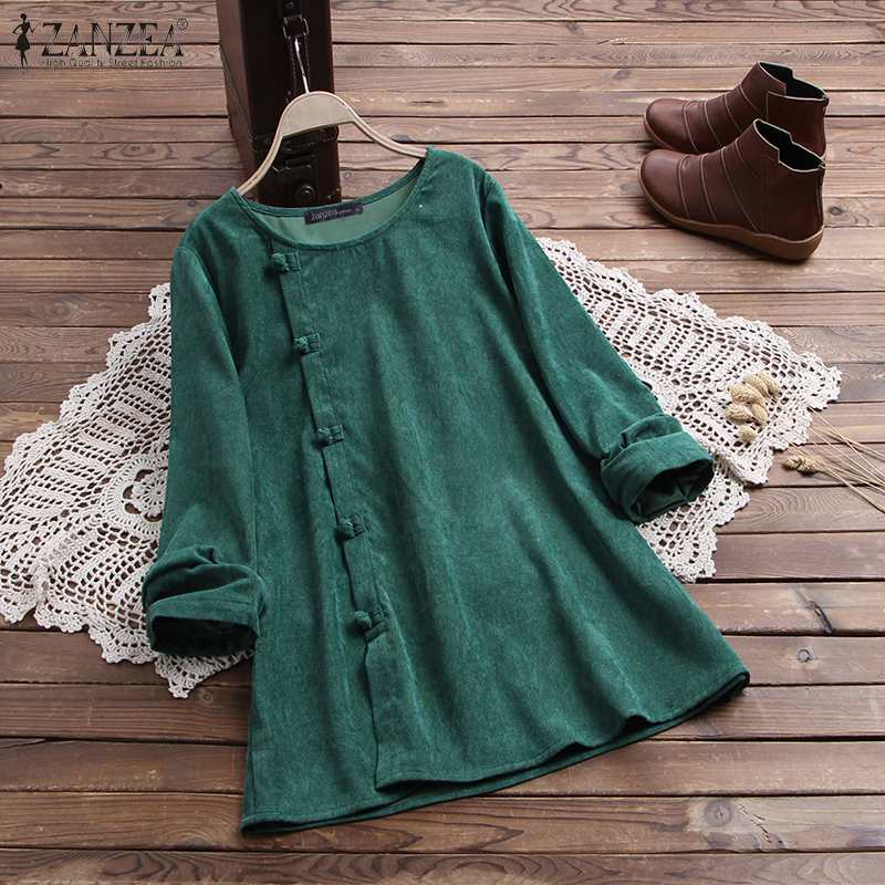 Kaftan Corduroy Blouse Women's Solid Tops 2020 ZANZEA Spring Casual Long Sleeve Tunic Female Button Blusas Plus Size Tee