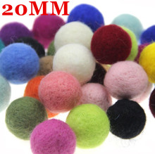 10pcs 20mm Mix Color Wool Felt Balls Round Wool Felt Balls Pom Poms For Girls Diy Room Party Decoration Colorful Fetl Balls New mini order 2pc large 40x50mm christmas decor wool felt ball different colors felt heart balls pom pom handcraft decoration diy