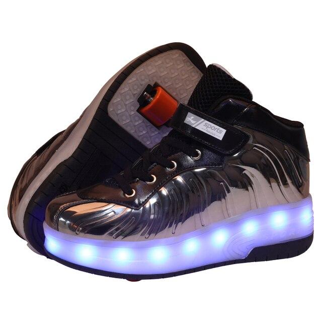 Baskets à roulettes pour enfants, couleur lumière Led, noir, rouge et rose, chaussures de Skate à roulettes pour garçons et filles, chaussures Led