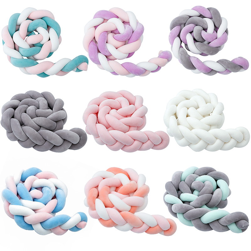 Fashionable1-9 Baby Bed Crib Bumper Room Decor Newborn Cot Cushion Protector 1.5/2/3M Knot Baby Nest Bumper Stroller Accessories
