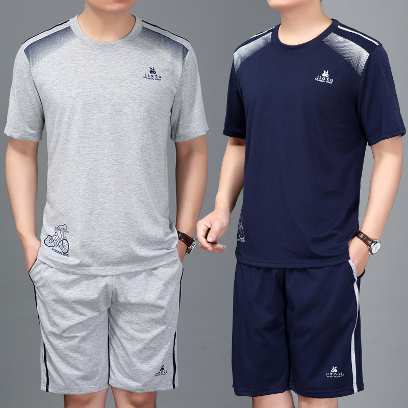 Summer Sports Set MEN'S Short Sleeve Middle-aged Casual Sports Clothing Dad Athletic Clothing Middle-aged