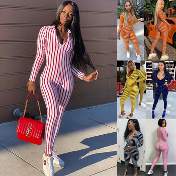 6 Colors Trendy Women Long Sleeve V Neck Stripe Bodycon Jumpsuit Female Sexy Slim arrival Casual Playsuits Clubwear Outfits 1
