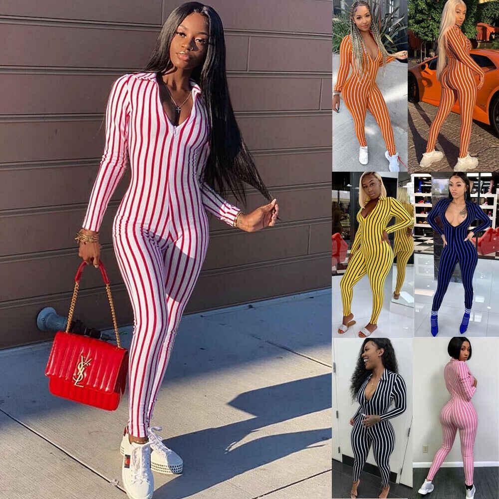6 цветов Модный женский длинный рукав с v-образным вырезом в полоску Облегающий комбинезон женский сексуальный тонкий прибытие повседневные Костюмы пляжного стиля Клубная одежда