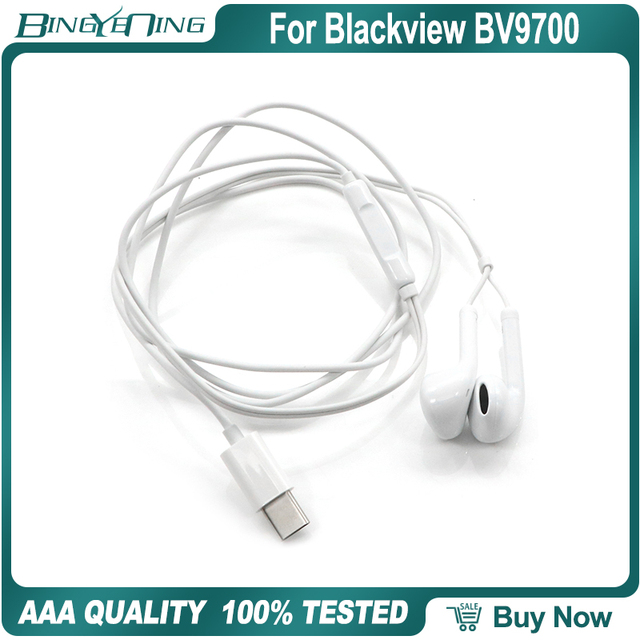 100% ใหม่OriginalหูฟังชุดหูฟังสำหรับBlackview BV9700 ProหูฟังIn Earพร้อมไมโครโฟนType C Helio P70 octa Core