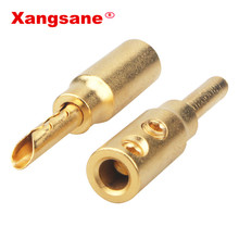 8 pièces 50pcs 100 pièces Xangsane pur cuivre plaqué sable or banane prise hifi haut parleur câble connecteur gratuit soudure audio connecteur